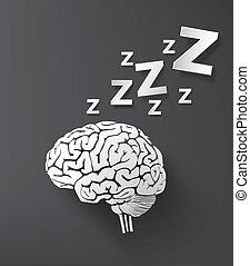 brain., concepto, sueño, vectorof