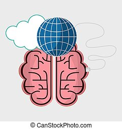 brain connection globe cloud technology