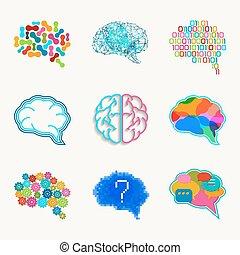 Brain, creation and idea vector icon set