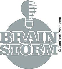 Brain creative logo, simple gray style