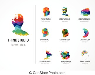 Brain, Creative mind, learning and design icons. Man head,...