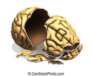 A broken brain - digitally manipulated 3D render.