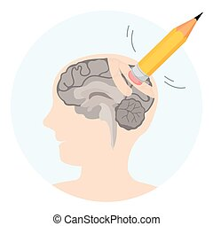 Brain damage abstract illustration with human profile and erasor
