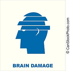 brain damage. simple flat vector illustration of mental health concept