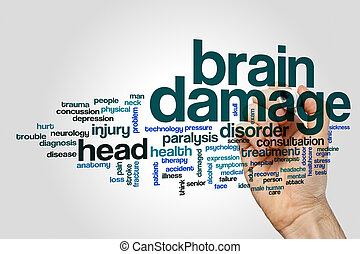 Brain damage word cloud concept on grey background.