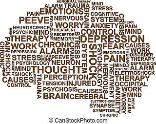brain depression - illustration of depression text in the...