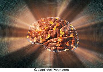 Brain destruction, medical concept for brain disease, burnout, depression, headache or migraine