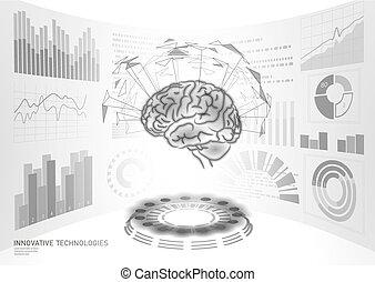 Brain diagnostic treatment low poly 3D HUD. Drug nootropic...