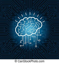 Brain Digital Form Icon Over Blue Circuit Background