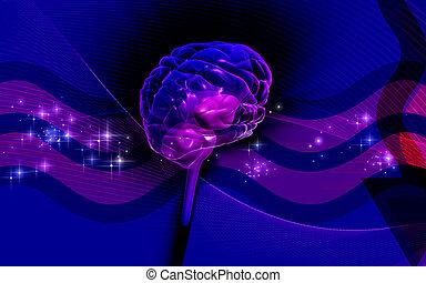 Brain - Digital illustration of brain in colour background...