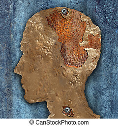 Dementia and aging as memory loss concept for brain cancer decay or an Alzheimer's disease with the medical icon of an old rusting piece of painted metal in the shape of a human head with rust as losing mind function.