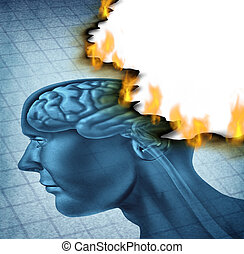 Brain disease and burn out icon as a medical neurology and health care symbol with a picture of a human head being burnt with fire flames as a concept of alzheimer and dementia illness.