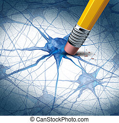 Brain disease dementia problems with loss of memory function for alzheimers as a medical health care icon of neurology and mental illness as a pencil erasing neuron cells from the human anatomy.