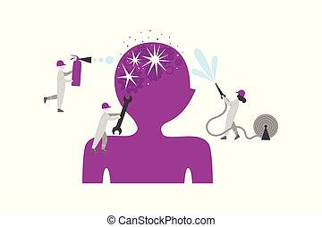 Brain disease, mental disorder flat illustration