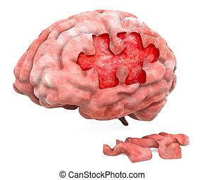 Brain disease or destruction concept. 3D rendering