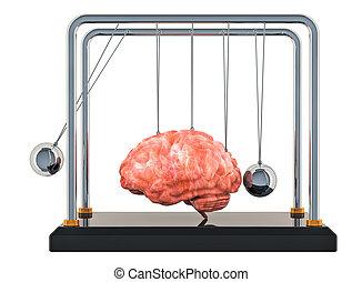 Brain disease or destruction, memory loss concept. Newton's cradle with brain. 3D rendering