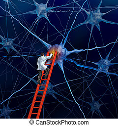 Brain Doctor - Brain doctor on a red ladder examining the...