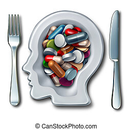 Brain Drugs - Brain drugs and neuroscience medicine concept...