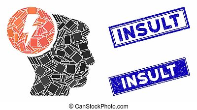Brain Electricity Mosaic and Grunge Rectangle Insult Stamp Seals