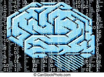 brain error in virtual man or woman head