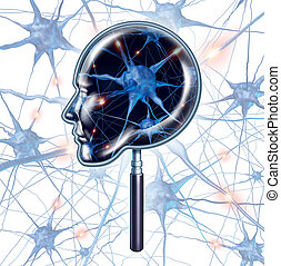Brain Exam - Brain exam medical symbol represented by a...