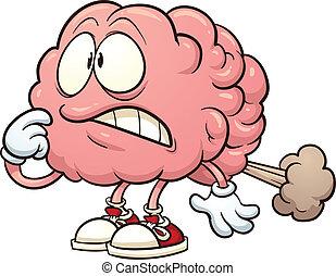 Brain fart - Cartoon brain having a brain fart. Vector clip...