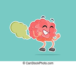 Brain Fart Vector Cartoon Illustration - Cute mascot failing...