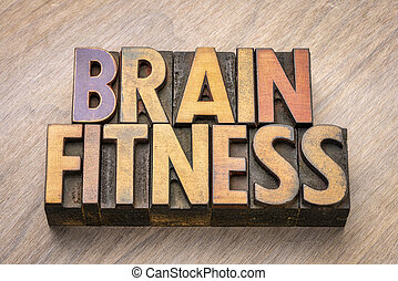 brain fitness word abstract in vintage wood type
