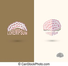 Brain flat style vector logo design