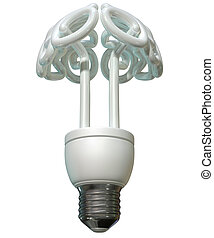 A regular fluorescent light bulb in the shape of a stylized brain on an isolated white background