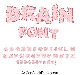 Brain font. Letters from Central department human nervous system. Pink Letters of convolutions. ABC of human brain