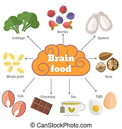 Brain food vector flat infographics