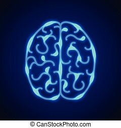 Brain from blue neon lines vector background