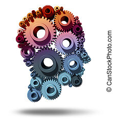 Brain function as gears and cogs in the shape of a human head as a medical symbol of mental health care and neurological functioning on a white background.