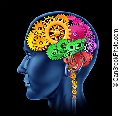 Brain function - Brain lobe sections made of cogs and gears...