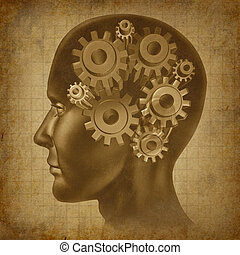 Intelligence brain function with gears and cogs in the mind as an ancient grunge old medical parchment.
