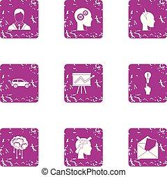 Brain function icons set, grunge style