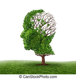Brain function loss and dealing With dementia and Alzheimer's disease as a medical icon of a tree in the shape of a human head and brain with lost leaves as challenges in intelligence and memory reduction due to injury or old age.