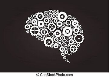 Brain Gears And Cogs On Blackboard