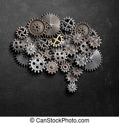 Brain gears and cogs model 3d illustration