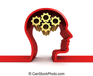 brain gears isolated  3d illustration