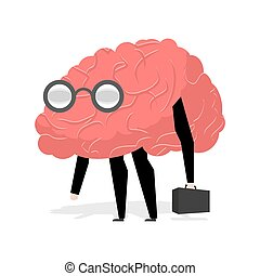 Brain glasses. Smart professional. Very cute manager. Egghead with ase. Business scientific figure. Central body of human nervous system