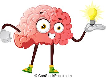 Brain has a great idea, illustration, vector on white background.