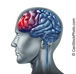 Human migrain head ache symbol represented by a brain that is enflamed by pain.