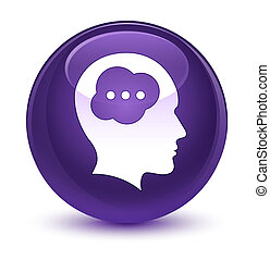 Brain head icon glassy purple round button - Brain head icon...