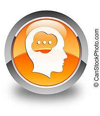 Brain head icon glossy orange round button