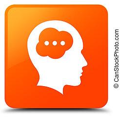 Brain head icon orange square button