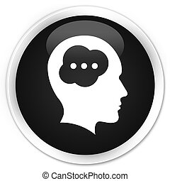 Brain head icon premium black round button