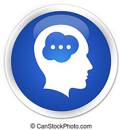 Brain head icon premium blue round button