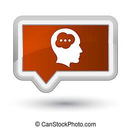 Brain head icon prime brown banner button
